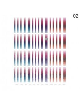 3D Наклейки Joyful Nail Градієнтні кольорові лінії 336