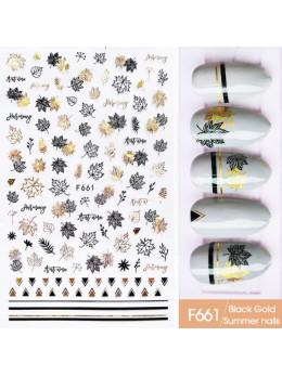 Наклейки для нігтів F661 Чорне Золото