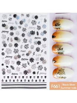 Наклейки для нігтів F661 Чорне Срібло