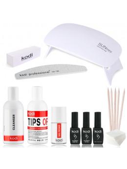 """Набір для покриття нігтів гель-лаком KODI """"Standart Sun MIni"""" + лампа SUN Mini 6W UV / LED WHITE"""