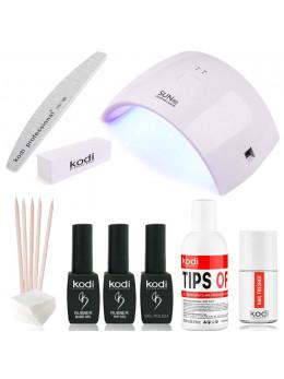 """Набір для покриття нігтів гель-лаком kodi """"sun compact"""" + лампа для манікюру sun 9c 24w white"""