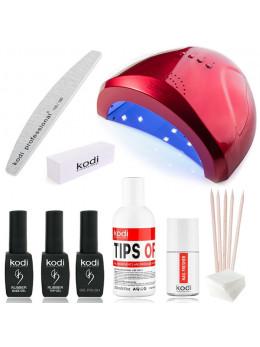 """Набір для покриття нігтів гель-лаком KODI """"Sun One Compact"""" + лампа для манікюру SUN One 48W RED"""