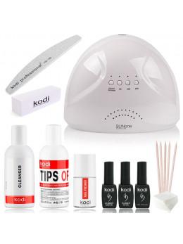 """Набір для покриття нігтів гель-лаком kodi """"standart sunone"""" + лампа для манікюру sunone 48w black"""